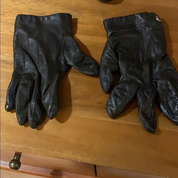 Coach Black Leather Gloves Size 7.5
